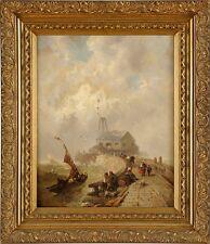 Altes Bild Öl , See Landschaft ,an der Hafenmole, Dommersen, Pieter Christian