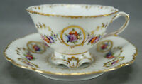 Dresden Hand Painted Floral & Gold Garlands Footed Tea Cup & Saucer C
