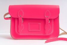 "Cambridge Satchel Company Bright Neon Pink Leather 13"" Crossbody Messenger Bag"