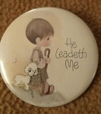 Vintage 70s Precious Moments Jonathan & David Pin Button #24 He Leadeth Me