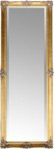 Spiegel groß 187 x 62 cm GOLD barock Wandspiegel antik Landhaus Holz Patina
