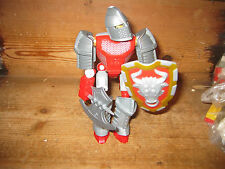 LEGO COLLECTIBLE RED KNIGHT ARMOUR  MOVING PARTS WEAPONS SHIELD AXE ADD TO OTH