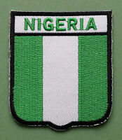 NATIONAL FLAG COUNTRY SHIELD SEW ON / IRON ON EMBROIDERED PATCH:- NIGERIA