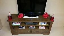 REAL SOLID WOOD TV STAND ENTERTAINMENT UNIT CHUNKY RUSTIC PLANK PINE FURNITURE