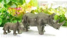 2 pcs Realistic Rhinoceros Cub Wild Animal Figure Statue Solid Plastic Toy Model