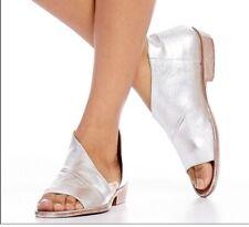 New Nib EU 37 Free People Mont Blanc Leather Asymmetrical Sandals Silver