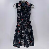 Modcloth Community Brunch Dress girl dog bike sz M Black