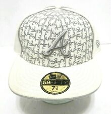 ATLANTA BRAVES HAT MLB 59Fifty New Era All-Over Logo White Grey Fitted Cap 7 1/8
