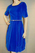 Xs Bright Blue Cotton Velvet Vtg 60s Pleated Skirt Fit and Flare Party Dress