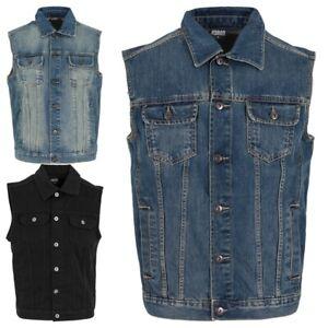 URBAN CLASSICS Herren Denim Weste + 1 SHIRT GRATIS Jeansweste Jacke TB514