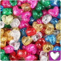 *3 for 2* 50/100 Mixed Sparkle Heart Shape 13mm Highest Quality Pony Beads