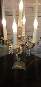 "Vtg Brass CANDELABRA TABLE LAMP W/ Crystal/s Prizms Chandelier TESTED 17"""