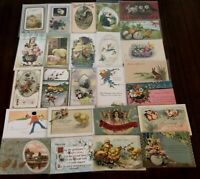Lot of 25 Easter Holiday~Vintage~Postcards with Chicks~Bunnies~Flowers-c-37