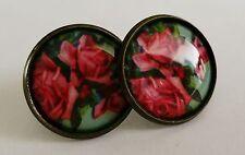 Rose Earrings Antique Bronze Studs Jewellery Boho Pink Flower Ladies Gift NEW