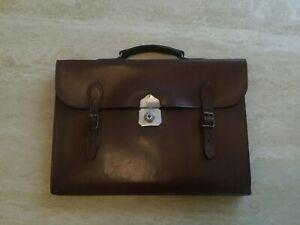 "Antique English Vintage Leather Briefcase Slimline Attaché Case Bag Brown 16"""