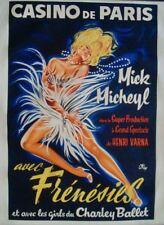 CASINO DE PARIS FRENESIES Vintage 1963 French poster 16x24 OKLEY LINEN