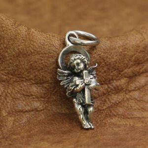925 Sterling Silver Cross Pendant Charms Little Angel Pendant TA213B
