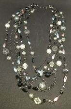 """Lia Sophia """"Katie"""" Hematite Necklace with Glass Pearls & Resin Beads 18-21"""""""