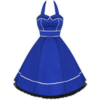 Ladies New Blue White Trim Vtg 50s Retro Pinup Rockabilly Party Prom Swing Dress