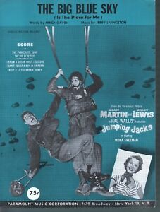 Big Blue Sky 1952 Dean Martin Jerry Lewis Jumping Jacks Sheet Music