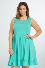 NWT Torrid Plus Size  Lace Seafoam Inset Sundress Casual Teal Green 4 4X  (PP25)