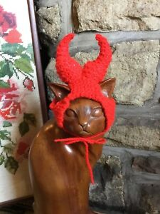 Hand Knitted Red Devil Or AC/DC hat  For Your Cat/small Dog ,New