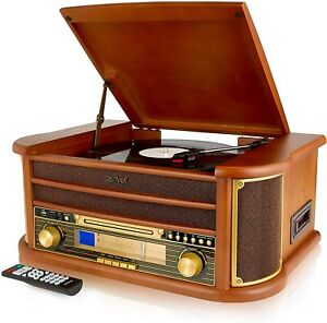 Record Player Turntable MCR50 6-in-1 CD MP3 Player Cassette Tape Radio FM/AM USB