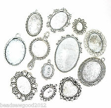 ANTIQUE SILVER TONE CABOCHON SETTINGS Pack of 10 assorted Bezels Tray Pendants
