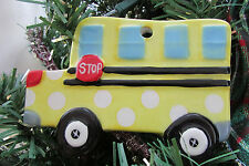 Mudpie Yellow Polka dot  Handpainted School Bus  Christmas Ornament