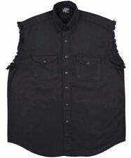Black Denim Motorcycle Cut-Off Sleeveless Shirt / Vest for Men 2XL