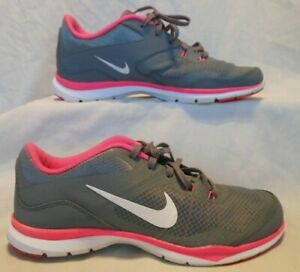 women's NIKE FLEX TRAINER 5 athletic sneakers - 724858-003 - grey/pink - size 10