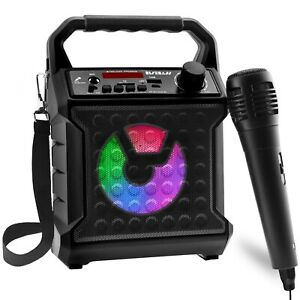 Portable Bluetooth Speaker Karaoke Machine System +Microphone Party Light /Strap