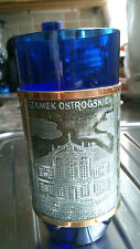 Polish Cobalt glass with silver metal and Copper Overlay Scenes of Poland Warsaw