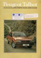 Peugeot Talbot Late 1984 UK Brochure Samba Horizon Alpine Rancho 205 505 604