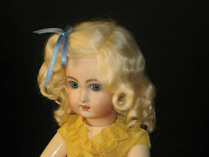 Lettie Light Blonde mohair wig for antique French German bisque doll size 12 -13