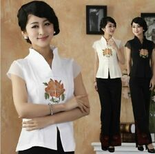 white black ChineseTradition Women's Embroider silk Shirt Blouse Tops sz:6-16