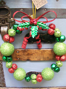 """NWT 10"""" WhoVille  Cherry RED Lime GREEN Glitter Bow JINGLE BELL Christmas WREATH"""