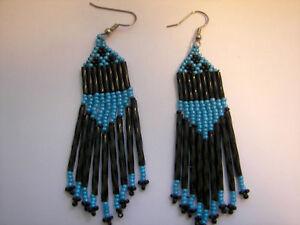 Aqua  / black  seed beaded earrings handcrafted