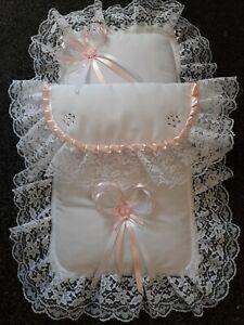 Dolls Pram Set White / Pink with Lace & SWAROVSKI Crystals