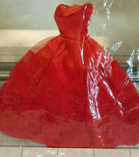 Barbie Satiny Red Gown with Floral Embroidered Red Tulle