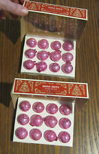 2 Boxes of vintage CHRISTMAS SHINY BRITE Pink Ball Ornaments feather tree VGC