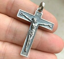 French Old Antique Religious Catholic Cross Jesus INRI in sterling silver