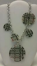 Gorgeous resin silver plaid chunky statement link necklace