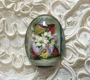 Vintage Easter 30X40mm Glitter Unset Handmade Glass Art Bubble Cameo Cab