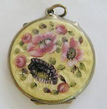 Antique Art Nouveau 800 Silver Guilloche Enamel Pink Rose Locket Pendant