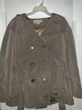 Women Michael Kors Trench Coat Jacket Long Sleeve Olive Peacoat Belted Size M