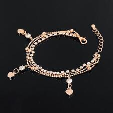 WrYrFion 18K Gold Plated Crystal Rhinestone Drop Heart  Bracelet for Women