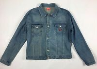 Memphis giacca jeans XL vintage jacket biker giubbotto blu usato man bomber T134