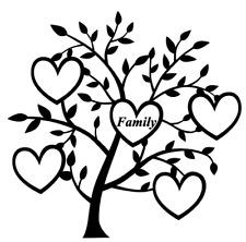 Family Heart Tree 4 Names Decal vinyl sticker Ikea Ribba Box Frame Crafting Gift