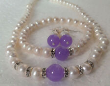Akoya Cultured Pearl & Alexandrite Necklace Bracelet Earrings Set Real White